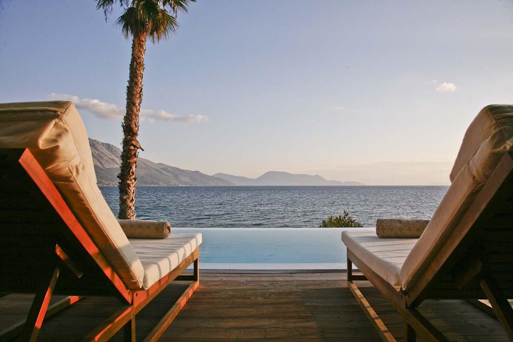 56 Infinity blue villa madouri palm tree ionian sea view - OIK1K1 Villa Madouri